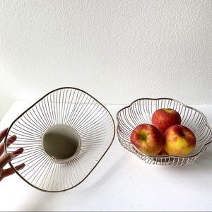 Vintage Set of Silver Plated Metallic Fruit Bowls